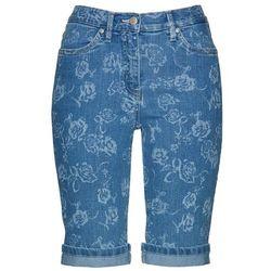 Bermudy dżinsowe z nadrukiem bonprix niebieski