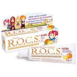 R.O.C.S. Kids Citrus Rainbow pasta do zębów dla dzieci Lemon, Orange and Vanilla (4 - 7 Years, Efficient Protection Agains Caries) 35 ml