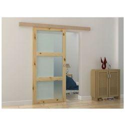 Naścienne drzwi przesuwne z 3 oknami ACOSTA - wys. 205 × szer. 93 cm - MDF naturalny