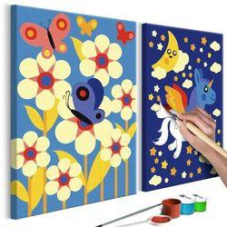 Obraz do samodzielnego malowania - motyl i jednorożec marki Artgeist