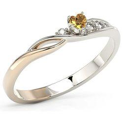 Pierścionek z białego i różowego złota z topazem swarovski honey i brylantami bp-81bp marki Węc - twój jubiler