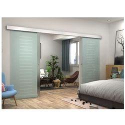 Vente-unique Dwuskrzydłowe drzwi przesuwne astana – wys. 205 × dł. 166 cm – szkło hartowane