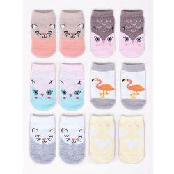 Yoclub Skarpety dziewczęce niemowlęce bawełniane 6pak w zwierzątka 0-3 miesięcy (5902409842388)