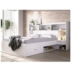 Łóżko KEVIN z miejscem do przechowywania i zagłówkiem z szafkami, 140 × 190 cm – kolor biały