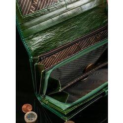 Skórzany portfel damski zielony 1077 marki Lorenti