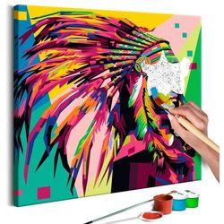 Artgeist Obraz do samodzielnego malowania - indianin (pióropusz)