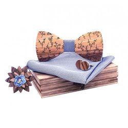 Drewniany komplet T04: muszka, spinki, poszetka i broszka, kolor różowy