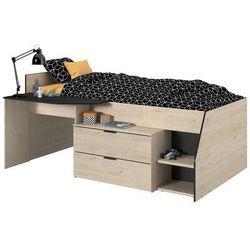 Vente-unique.pl Łóżko gisele z biurkiem i miejscem do przechowywania – 90 × 200 cm – kolor dębowy i czarny