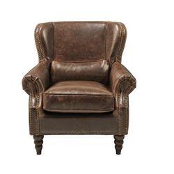 Fotel 100% skóry EDOUARD - Kolor czekoladowy