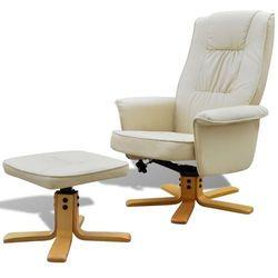 vidaXL Regulowany fotel z podnóżkiem, skóra syntetyczna, kremowy Darmowa wysyłka i zwroty