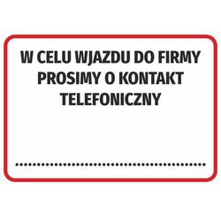 Naklejka w celu wjazdu do firmy prosimy o kontakt telefoniczny