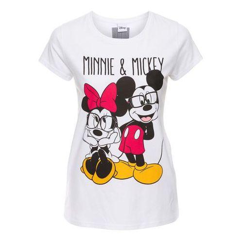 T-shirty damskie, T-shirt z nadrukiem Myszki Miki bonprix biały z nadrukiem