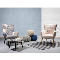 Fotel tapicerowany czarno-biały VEJLE