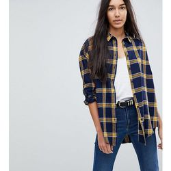 ASOS DESIGN TALL Oversized Shirt in Navy / Yellow Check - Multi