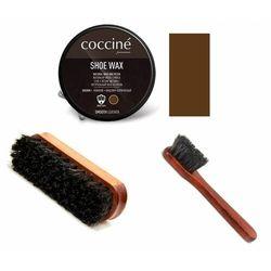 Zestaw do pielęgnacji butów pasta + szczotka do polerowania + mazak coccine brązowy