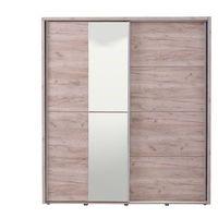 Garderoby i szafy, Szafa GALINA – 2 pary drzwi przesuwnych – Z lustrem – Dł. 184 cm – Dąb