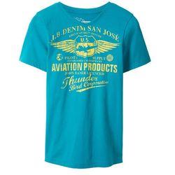 T-shirt z dekoltem w serek Slim Fit bonprix ciemnoturkusowy z nadrukiem