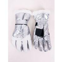 Odzież do sportów zimowych, Rękawiczki narciarskie damskie srebrno-białe z futerkiem 20