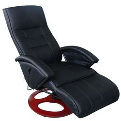 vidaXL Masujący fotel elektryczny ze sztucznej skóry, czarny Darmowa wysyłka i zwroty
