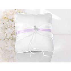 Poduszka pod obrączki biała z różową tasiemką - 1 szt.