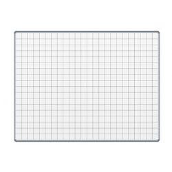 Biała tablica magnetyczna z powierzchnią ceramiczną ekoTAB, 120x100 cm, kwadraty
