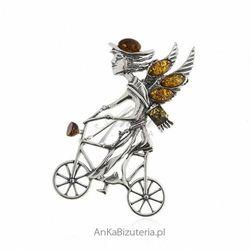 ankabizuteria.pl Broszko - wisior srebrny z bursztynem - posłaniec dobrej wiadomości