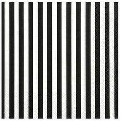 Serwetki urodzinowe białe w czarne paski - 33 cm - 20 szt.