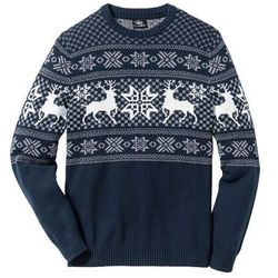 Sweter w norweski wzór Regular Fit bonprix ciemnoniebieski