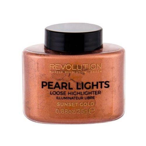 Rozświetlacze, MAKEUP REVOLUTION - PEARL LIGHTS - LOOSE HIGHLIGHTER - Sypki rozświetlacz - SUNSET GOLD