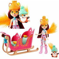 ENCHANTIMALS Zimowe sanie + lalka Felicity Fox + lisek GJX31