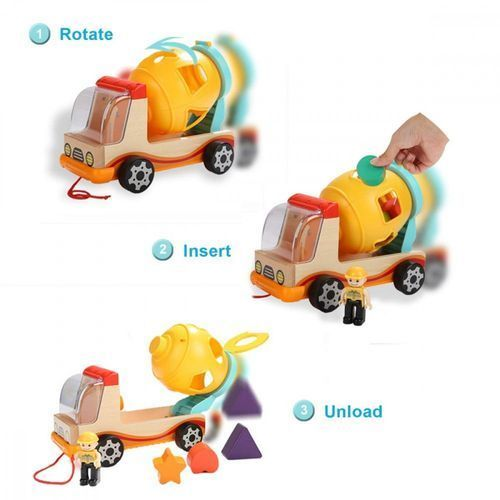 Zabawki z drewna, Brimarex Pojazd Top Bright Betoniarka drewniana sorter