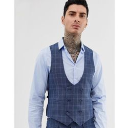 Gianni Feraud slim fit linen blend check waistcoat double breasted scoop - Blue