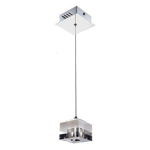 Lampy sufitowe, LAMPA wisząca CUBRIC MD9216-1A Italux szklana OPRAWA halogenowa ZWIS kostka cube box biała przezroczysta