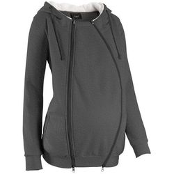 Bluza rozpinana ciążowa z wstawką niemowlęcą i miękką spodnią stroną bonprix antracytowy melanż