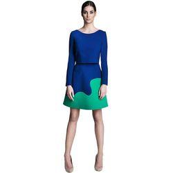 Komplet kobaltowo-zielony bluzka z rękawem i spódnica