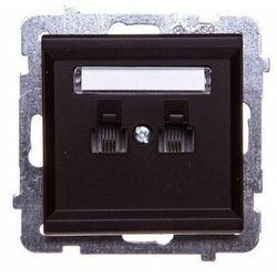 Gniazdo telefoniczne podwójne równoległe p/t, czekoladowy GPT-2RR/m/40 OSPEL SONATA