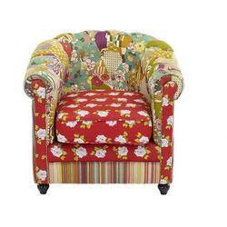 Fotel typu Chesterfield SPANIA - Tkanina patchworkowa w kolorach czerwieni i zieleni