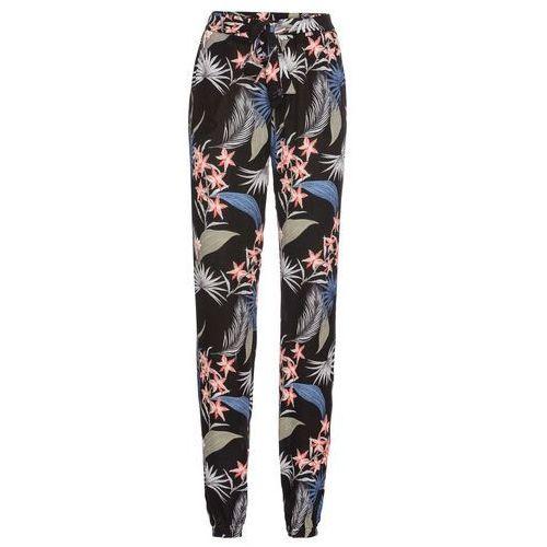 Spodnie damskie, Szerokie spodnie bonprix czarny z nadrukiem