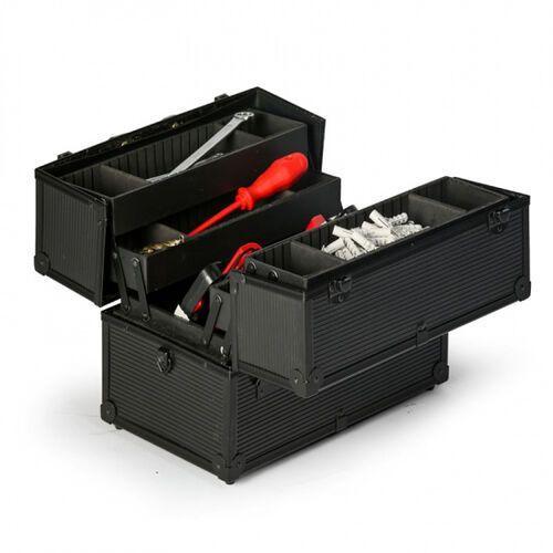 Walizki na narzędzia, Rozkładana walizka aluminiowa na narzędzia, 370 x 233 x 278 mm
