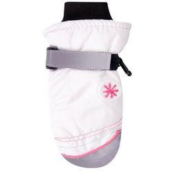 Rękawiczki narciarskie białe naszywka śnieżynki 20