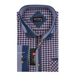 Koszula Męska Speed.A czerwona w kratkę z dodatkami jeans na długi rękaw duże rozmiary D877