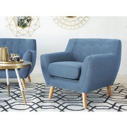 Fotel niebieski - tapicerowany - pikowany - MOTALA