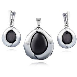 Elegancki duży owalny oksydowany srebrny komplet onyks onyx srebro 925 I0039Z