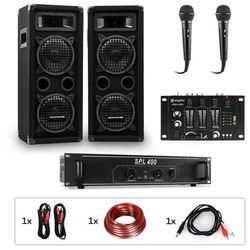 Auna Pro PW-65x22 MKII, zestaw nagłośnieniowy do karaoke: wzmacniacz + 2 pasywne kolumny nagłośnieniowe + mikser + 2 mikrofony