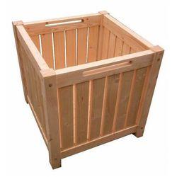 Drewniana kwadratowa donica ogrodowa z rączkami - Tessa