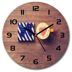 Zegar szklany okrągły Kawa i prezent