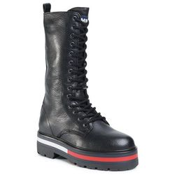 Trapery TOMMY JEANS - Flag Outsole Long Lace Up Boot EN0EN01073 Black BDS