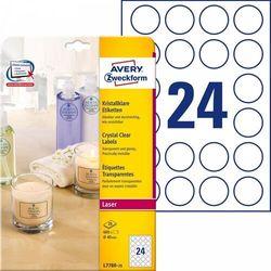 Etykiety przezroczyste Crystal Clear Avery Zweckform A4 25ark./op. Ø40mm