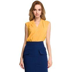 Żółta Elegancka Koszulowa Bluzka bez Rękawów z Zakładkami