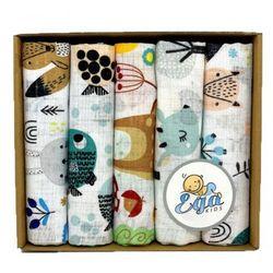 Pieluszki tetrowe drukowane 5szt. eco pudełko zest. 4